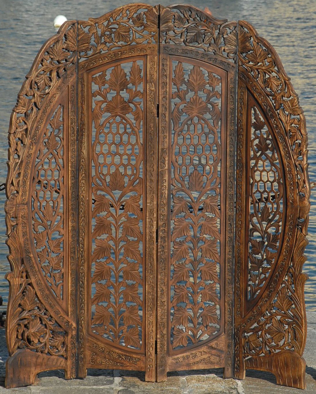 Carved Wooden Screens ~ Paravent panel indian hand carved wooden screen room