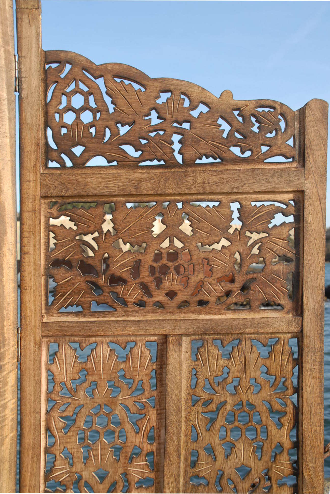 Carved Wood Screens ~ Paravent panel indian hand carved wooden screen room