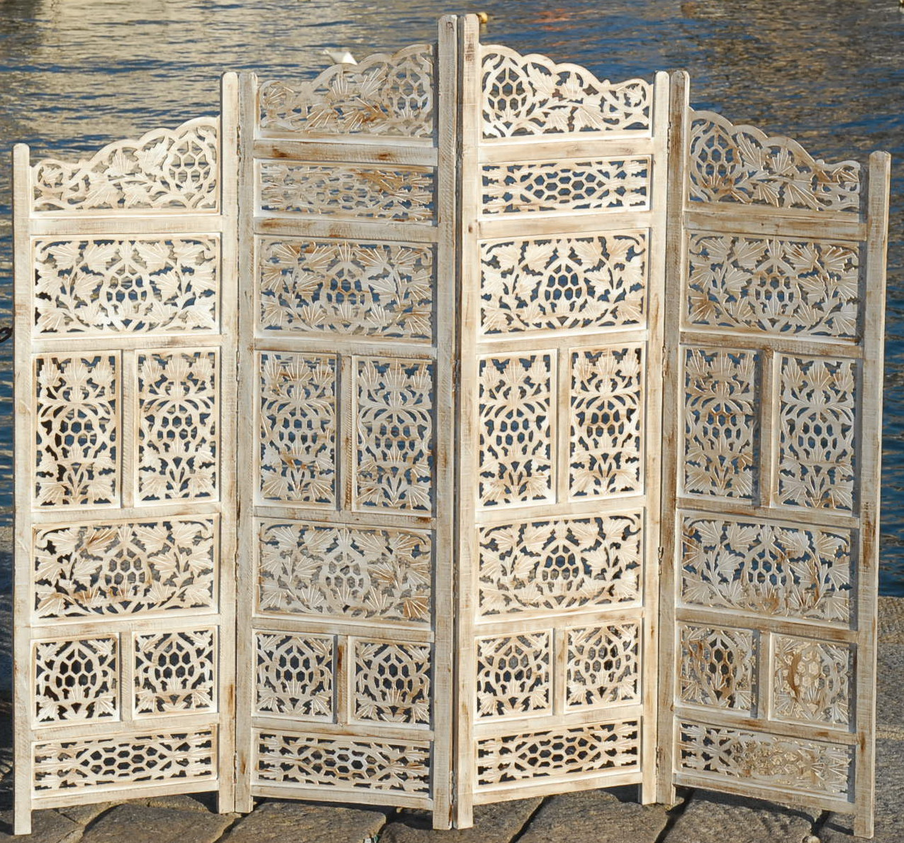 PARAVENT 4 PANEL INDIAN HAND CARVED WOODEN SCREEN ROOM DIVIDER FREE P . Full resolution  image, nominally Width 1275 Height 1188 pixels, image with #8C703F.