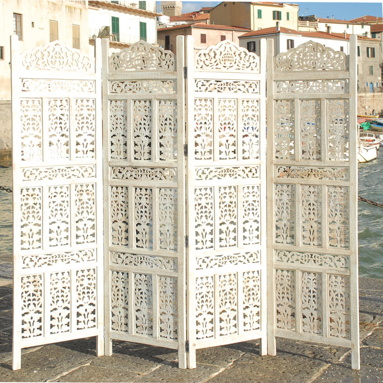 PARAVENT 4 PANEL INDIAN HAND CARVED WOODEN SCREEN ROOM DIVIDER FREE P . Full resolution  image, nominally Width 1293 Height 1293 pixels, image with #346D97.