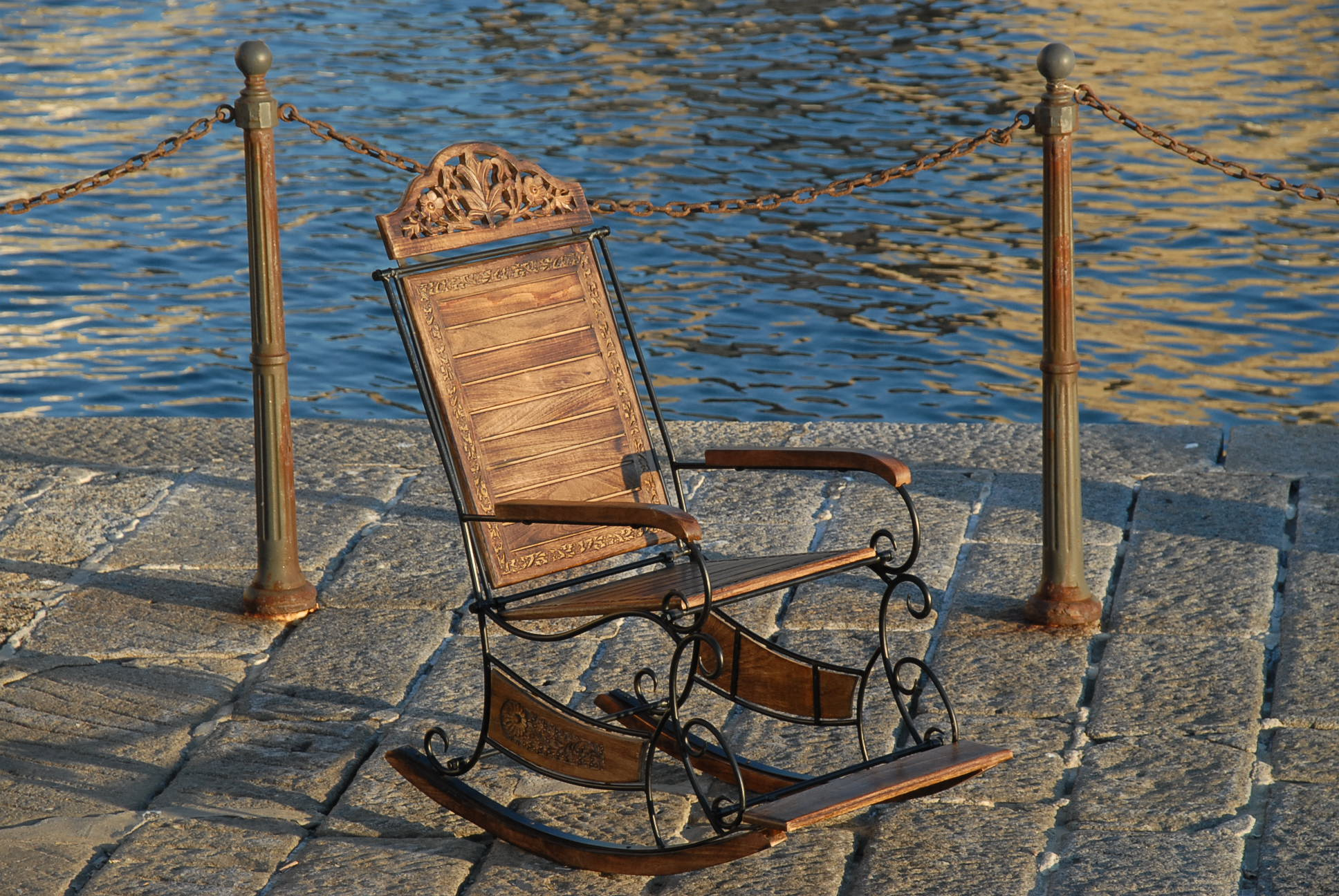 ROCKING CHAIR SEAT SOLID MANGO WOOD & WROUGHT IRON LIVING BED ROOM ...